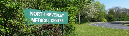North Beverley Medical Centre sign as seen from Woodhall Way